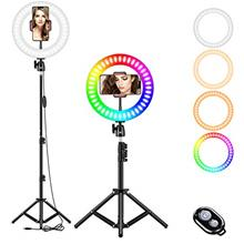 "10 "" RGB Selfie Ring Light, LED Ringlight 3200-6500K with Tripod Stand &"