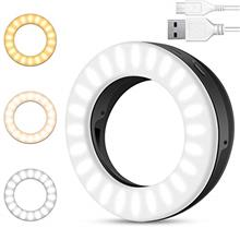 Selfie Ring Light, Rechargeable Portable Clip-on Ring Light for Phone Laptop a