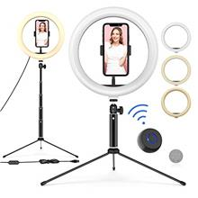 "10"" LED Ring Light with Tripod Stand Adjustable  & Phone Holder, Bluetooth R"