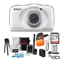 Nikon Coolpix W150 Digital Camera (White) with 16GB Card and Accessory Bundle