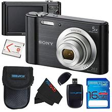 Sony Cyber-Shot DSC-W800 Digital Camera (Black) + 16GB Memory Card + Accessory