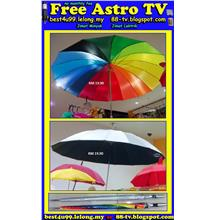 Colourful Big Umbrella rain sunlight Raining Shower Payung Besar Golf