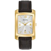 Bulova Men's Stainless Steel Analog-Quartz Watch with Leather-Crocodile Strap,
