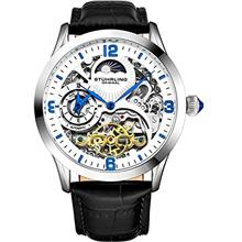 Stührling Original Automatic Watch for Men Skeleton Watch Dial, Dual Time, AM