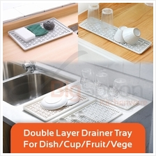 BIGSPOON SA00075 2 Layer Plastic Drainer Tray Drying Dish/Cup Dryer
