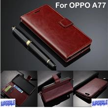 Genuine Cow Leather Wallet Casing Case Cover for Oppo A77