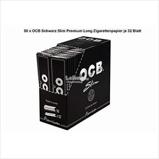 1 Box OCB Black Premium King Size Slim Rolling Papers 110mm-50 booklet