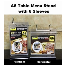 A6 Paper Table Menu Stand with 6 Sleeves Horizontal Vertical 2377.1