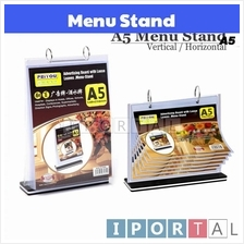 A5 Paper Table Menu Stand with 6 Sleeves Vertical Horizontal