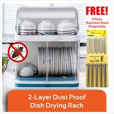 BIGSPOON DR00079 Scandinavian 2-Layer Dust Proof Dish Drying Rack Plas