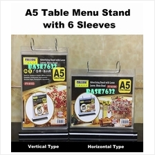 A5 Paper Table Menu Stand with 6 Sleeves Horizontal Vertical 2201.1