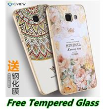 Samsung Galaxy A7 2016 3D Relief Metal Frame Case Cover Casing + Glass