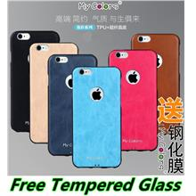 Apple iPhone 6 6S / Plus Leather TPU Case Cover Casing +Tempered Glass