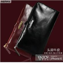 100% Remax Cow Leather iPhone 6 6S Plus Case Cover Casing Wallet Clips