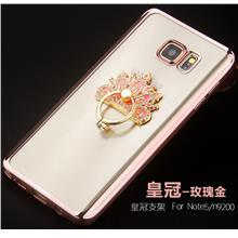Samsung Galaxy Note 5 Silicone Case Cover Casing + Diamond Ring Stand