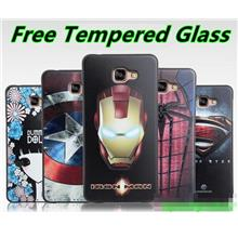 Samsung Galaxy A9 / Pro 3D Silicone Case Cover Casing + Tempered Glass