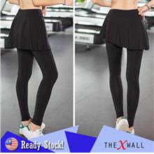 Women Sports Skirted Leggings Yoga Skirts Spandex Tights Athleti - [S]