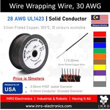 Wire Wrapping Wire, Single Strand Silver Plated, 28 AWG, UL1423 (10m)