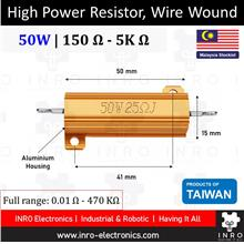 High Power Resistor, Wire Wound, 5% Tolerance, 50W [150R-5K R]