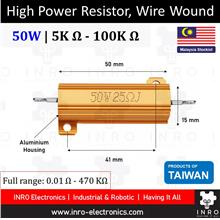 High Power Resistor, Wire Wound, 5% Tolerance, 50W [5K R - 100K R]