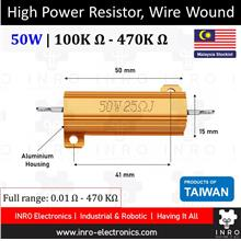 High Power Resistor, Wire Wound, 5% Tolerance, 50W [100K R - 470K R]