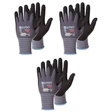 Safety Work Gloves MicroFoam Nitrile Coated-3 Pairs,KAYGO KG18NB,Seamless Knit