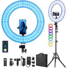 RGB LED Ring Light with Stand/Phone Holder/Remote Controller/APP Control, 18-i