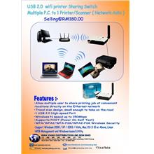 USB 2.0  wifi printer SharingSwitch Multiple P.C. to 1 Printer/Scanner