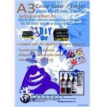 A3 colour LASER/Inkjet printable white PVC sticker 20 sheet/pack
