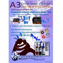 A3colour Laser/inkjet printable Transparent PVC sticker 20 sheet/pack