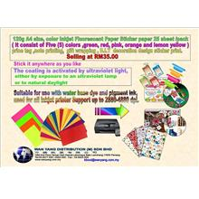 A4 size 120g  color Inkjet Fluorescent Paper Sticker paper 25 shts/Pk