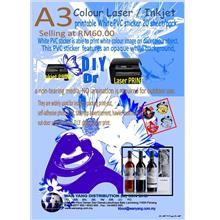 A3 colour LASER/Inkjet printable white PVC sticker 20 sheet/pack
