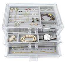 Acrylic Jewelry Box 3 Drawers, Velvet Jewellery Organizer, Earring Rings Neckl