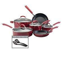 Farberware Millennium Nonstick Cookware Pots and Pans Set, 12 Piece, Red/from