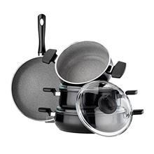 Hisar 7 Piece Aluminum Multigranit Neptun Cookware Set, Black/from USA