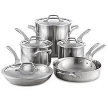 Calphalon Signature 10 Piece Set|Stainless Steel Cookware, Silver/from USA