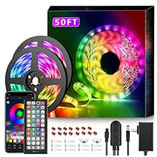 50Ft LED Strip Lights Music Sync Color Changing RGB LED Strip 44-Key Remote, S