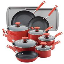 Circulon Acclaim Nonstick Cookware Pots and Pans Set, 15 Piece, Red/from USA