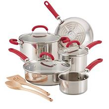 Rachael Ray Create Delicious Stainless Steel Cookware Set, 10-Piece Pots and P
