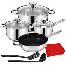 LeFroom Kitchen Stainless Cookware Set 11 Piece Nonstick Stainless Steel Pan a