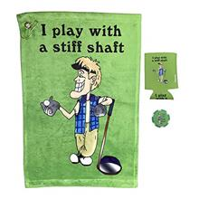 Giggle Golf I Play with A Stiff Shaft Golf Towel, Poker Chip, and Can Cooler |