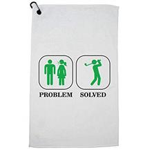 Hollywood Thread Angry Wife Problem - Solved Man Golfing Funny Golf Towel with