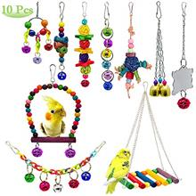 AUHOKY 10Pcs Bird Parrot Toys, Hanging Swing Chewing Perches with Bells Parrot