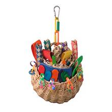 Super Bird SB669 Wicker Foraging Basket Bird Toy with Array of Chewable Toys f