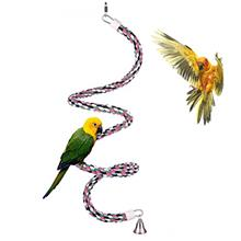 Aigou Bird Spiral Rope Perch, Cotton Parrot Swing Climbing Standing Toys with