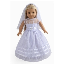 sweet dolly 2Pc Doll Clothes White Communion Dress Wedding Dress Fits 18 Inche
