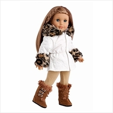 Winter Fun - 3 Piece Outfit - Ivory Parka with Leggings and Boots - 18 Inch Do