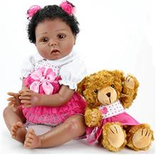 Aori Reborn Baby Dolls Lifelike Weighted Black Girl Doll 22 Inch with Teddy To