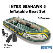 INTEX 68380 Seahawk 3 Person Inflatable Boat Set Air Pump Oar 2385.1