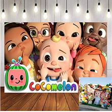Cocomelon Backdrop Cartoon Cute Boy Girl Smiley Newborn Baby Shower Photo Prop